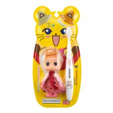 """Набор детский с игрушкой SILCAMED: Детская зубная щетка """"SILCAMED Серебро"""" 3+ мягкая в наборе с Игрушкой куклой-девочкой S1713/ Инерционной игрушкой S1614"""